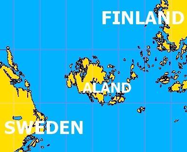 #aland islands map - between  Finland and Sweden