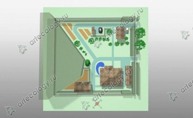 Дизайн участка с угловым домом, вид сверху