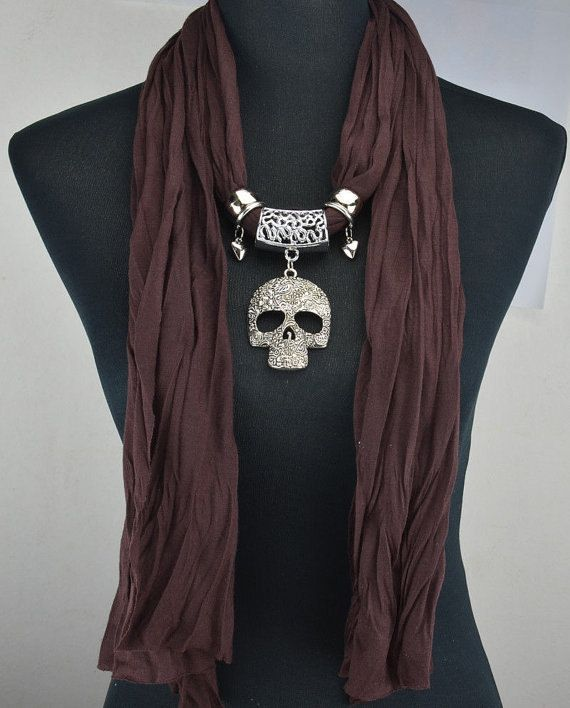 Skull Pendant / Long Scarf / Necklace Scarf / Charm by SoCuteBijou, $15.00