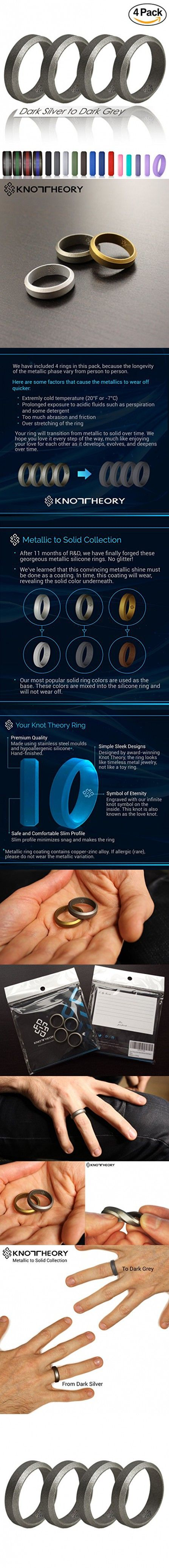 Knot Theory Dark Silver to Dark Grey Silicone Wedding Rings 4 Pack (Bevel Design, Size 10) 6mm Band for Superior Comfort, Style, and Safety