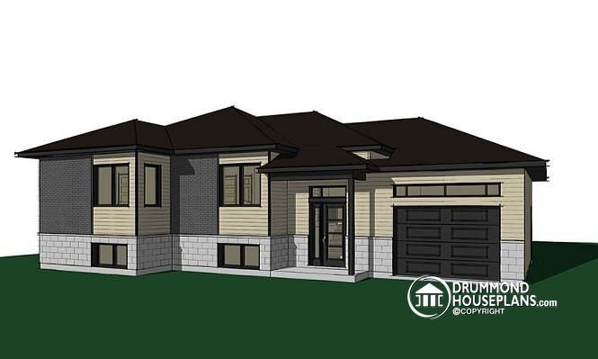 NEW AFFORDABLE ONE-STOREY HOME PLAN  Split entry affordable house plan with attached garage, 2 bedrooms, laundry area  http://www.drummondhouseplans.com/house-plan-detail/info/aspendale-6-contemporary-1003189.html  http://www.drummondhouseplans.com/house-plan-detail/info/aspendale-6-contemporary-1003189.html