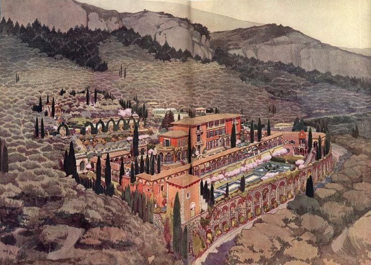 « C'est à Grasse, à la villa Croisset, dont les travaux durèrent plus de sept ans, que je conçus la première et la plus importante réalisation de mon oeuvre méditerranéenne. Située sur la route de Magagnosc qui mène à la vallée du Loup, elle domine l'immense perspective qui va des derniers contreforts des Alpes au Golfe de la Napoule. On ne peut s'empêcher de songer à la vue du cloître d'Assise qui découvre la vallée de Pérouse. (Ferdinand Bac, l'Illustration, Noël 1922).