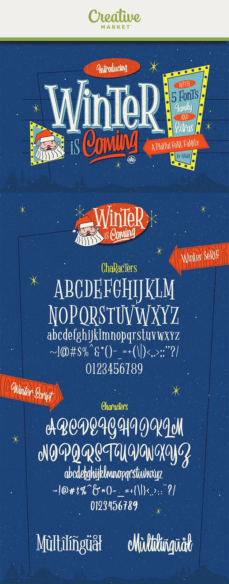 Ad: Winter is coming is a new playful font family which is inspired by hand lettering at the winter season in 1950-1960. Winter is coming contains 5 collection of fonts that used open type features such as stylistic alternate, stylistic set, contextual alternate, ornaments and ligatures. This package also contains a bonus graphic to help you make winter design more stunning!