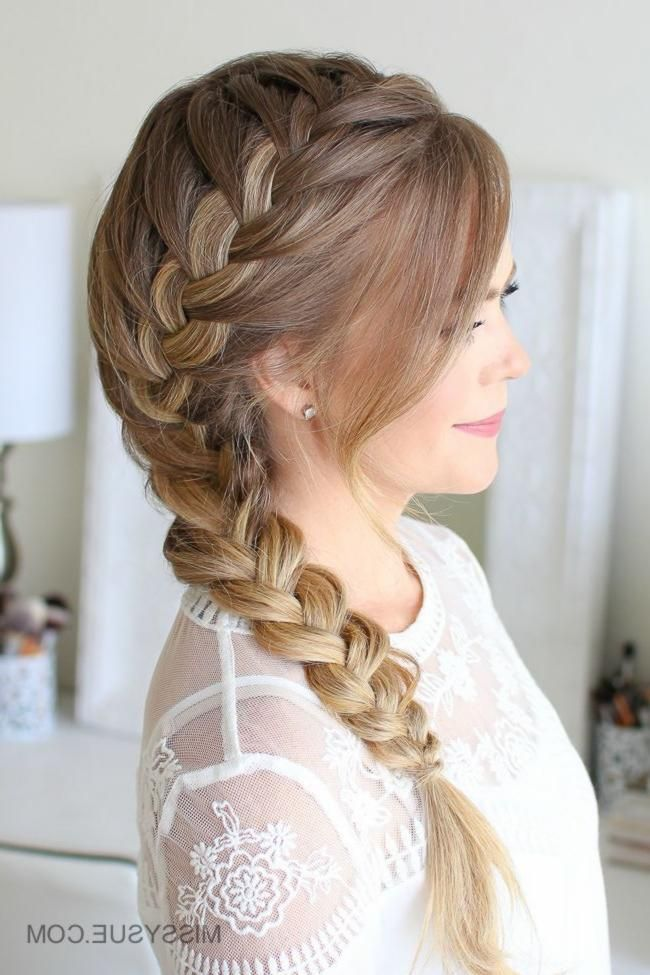 Side French Braid Here Is A Fun Back To School Hairstyle That Is Not Only Easy But Super Cute The Side F Side French Braids Hair Styles Hairstyles For School