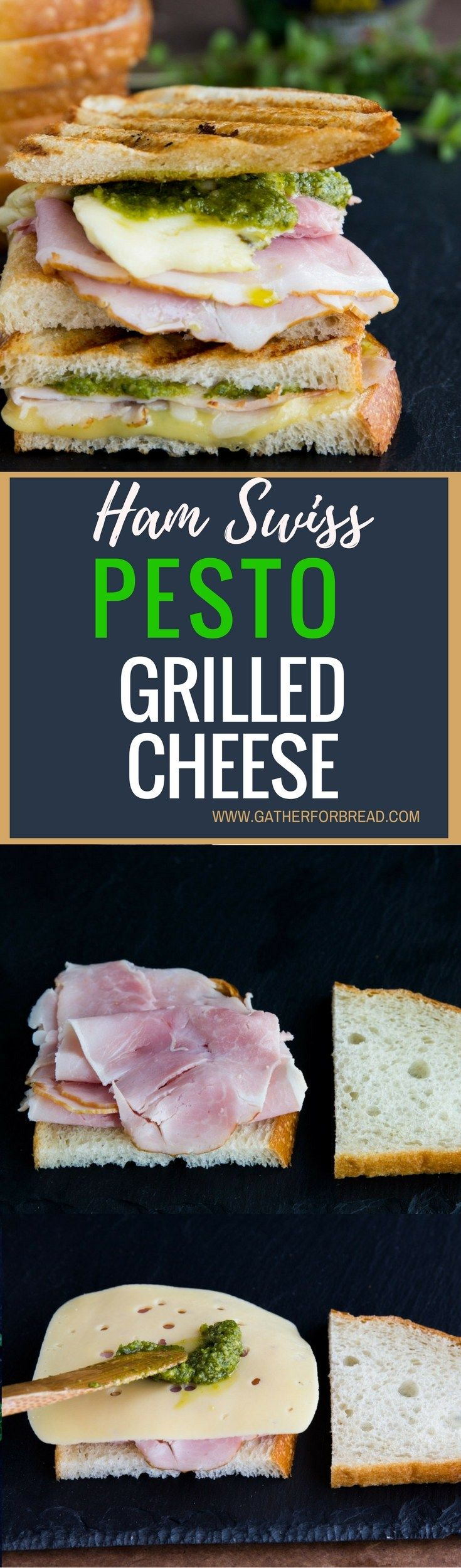 Ham Swiss Pesto Grilled Cheese - Layers of deli ham, Swiss cheese and pesto combine for a perfect lunch sandwich. Grilled cheese perfection with a twist.