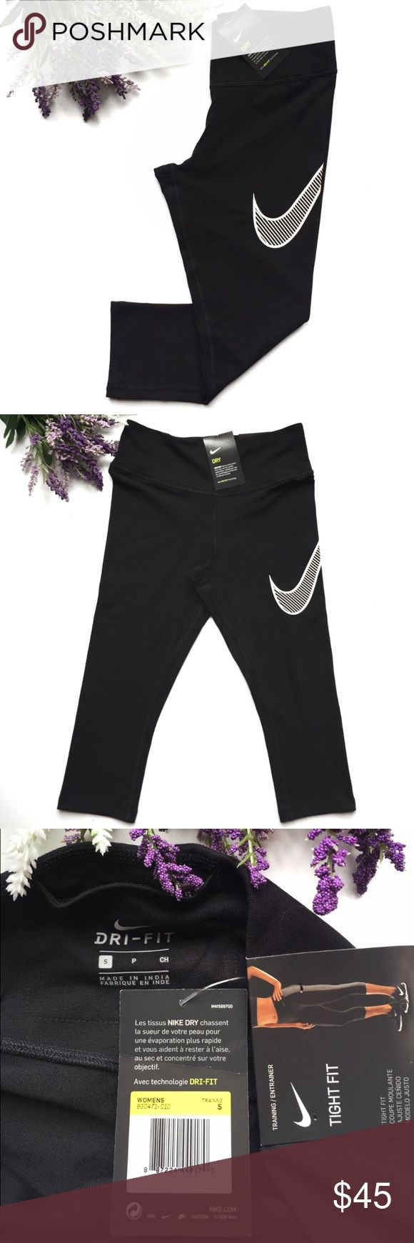 """Nike Legend Dri-Fit Training Leggings ULTRA SOFT & MADE TO MOVE. Hugging your legs from hip to knee, Nike Legendary Tight Women's Training Capris offer a flattering fit w/ ultra-soft, sweat-wicking fabric for maximum comfort and excellent coverage for any workout. Ultra-soft Dri-FIT nylon fabric helps keep you dry & comfortable. Form-fitting waistband w/ flat seams stays comfortably in place as you move. Bonded pocket inside waistband keeps your small items secure. 19"""" inseam based on size…"""