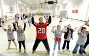 Brent Grimes hangs out with the kids