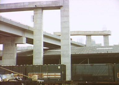 Western Distributor being constructed over the trains 1978: Helen