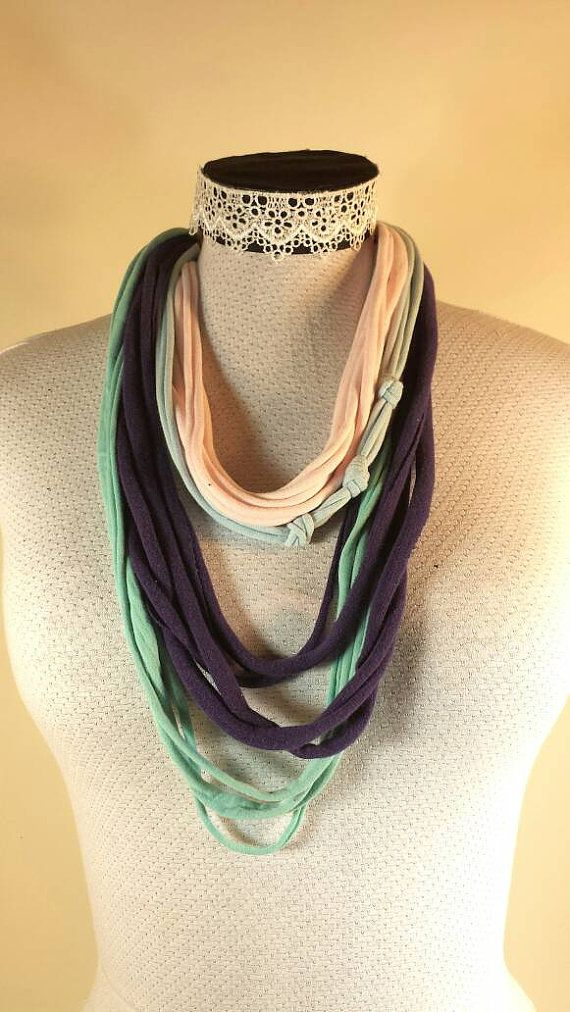 Check out this item in my Etsy shop https://www.etsy.com/ca/listing/272428858/recycled-tshirt-fabric-necklace