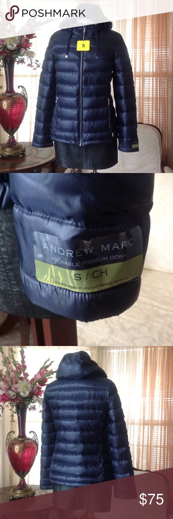 Andrew Marc blue down jacket NEW! New with tag attached.                                         e Andrew Marc Jackets & Coats
