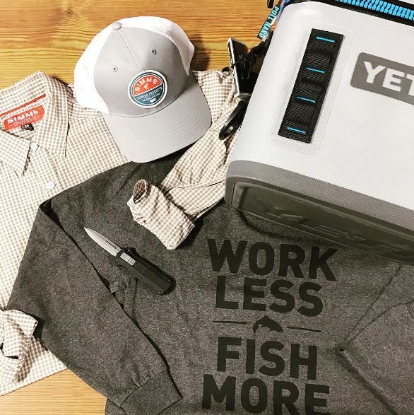 Products: Simms Button Down, hat, and long sleeve T-shirt, Benchmade Pocket Knife, and Yeti Flip. Instagram: haysco_outfitters