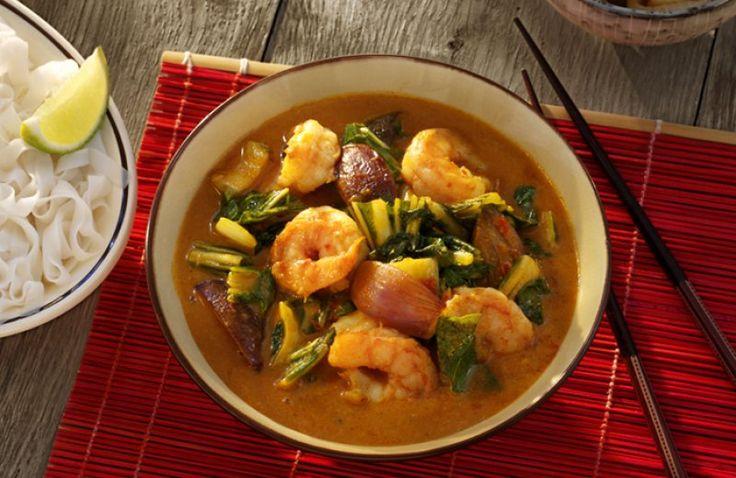 Rode Thaise garnalen curry met paksoi en limoen