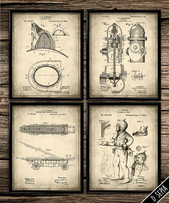 Merveilleux Vintage Fire Rescue Set | Vintage Prints | Patent Print | Office Decor |  Home Decor