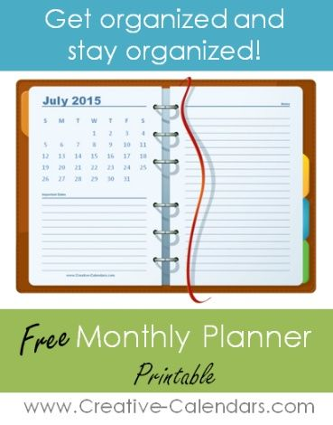 This free printable monthly planner will help you get and stay organized. Each monthly planner has a calendar, space for notes and to record important dates. You can also add your photo to your planner.   2016 Other Calendars you might like: Monthly Planner 2017 Notebook Style Photo Calendar Monthly Planners