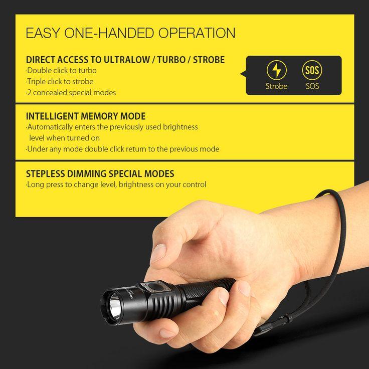 BlitzWolf® BW-ET1 XP-L V6 600LM Stepless Dimming Mini EDC LED Flashlight 14500/AA