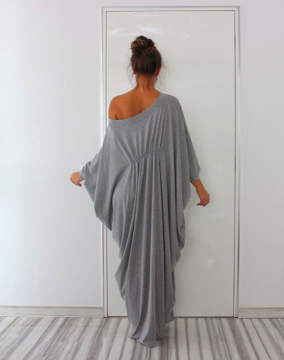 Grey Abaya Dress Queen Maxi Soft elastic by cherryblossomsdress