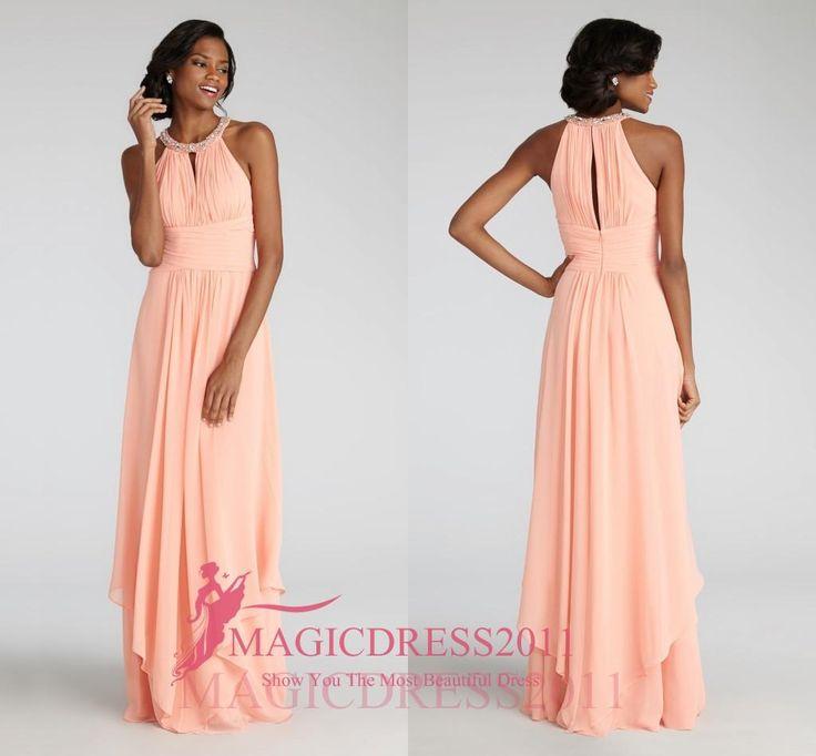 Elegant blush bridesmaid dresses long chiffon maid of for Made of honor wedding dress