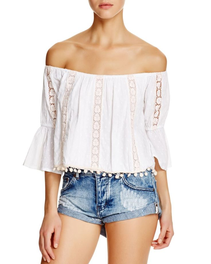 Tularosa Embroidered Off The Shoulder Crop Top