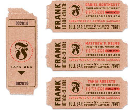 : Ticket Stubs, Decoding Rings, Ticket Design, Design Concern, Biz Cards, Rings Design, Frank Restaurant, Business Cards Design, Business Cards Graphics Design