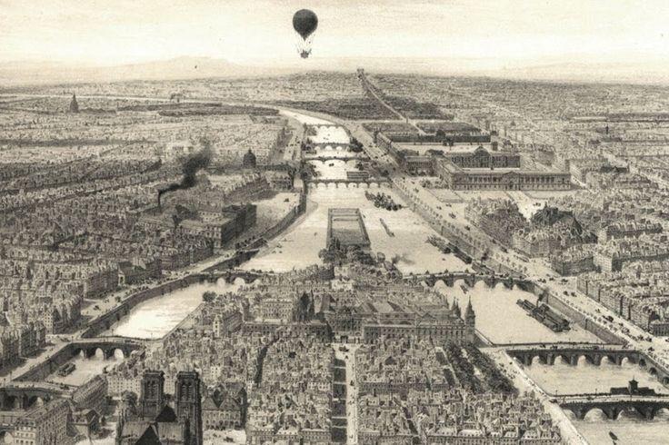 1850. La Seine, l' Ile de la Cité, le Pont Neuf, Le Palais de justice de Paris, la préfecture de police, l'Hôtel-Dieu, Notre-Dame de Paris, Sainte-Chapelle de Louis IX et la Conciergerie.