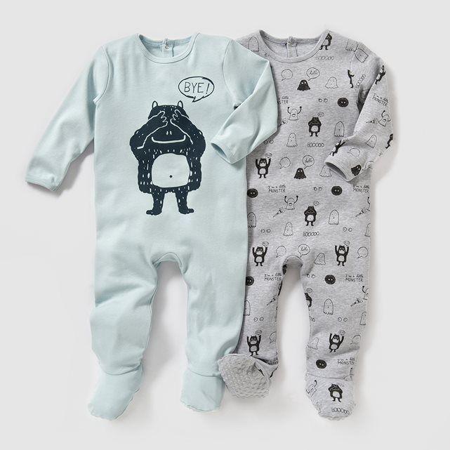 Pyjama coton interlock (lot de 2) 0 mois-3 ans R essentiel : prix, avis & notation, livraison. Les 2 pyjamas en interlock. Lot composé d'1 uni imprimé devant + 1 imprimé