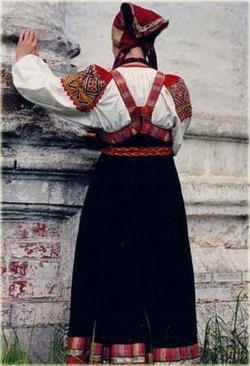 Folk costume behind of Tver Oblast, Russia
