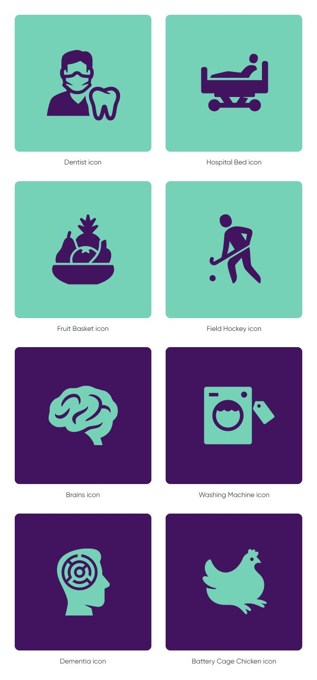 Dentist icon, Hospital Bed icon, Fruit Basket icon, Field Hockey icon, Brains icon, Washing Machine icon, Dementia icon and Battery Cage Chicken icon by #Dutchicon for Ministry of Health, Welfare and Sport (VWS). #icondesign #iconset #iconography #rijksoverheid www.dutchicon.com