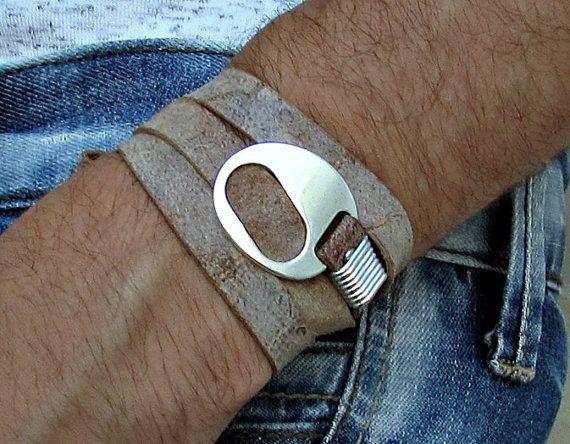 Men's Leather Bracelet Wrap Bracelet Cuff Unisex by GUSFREE