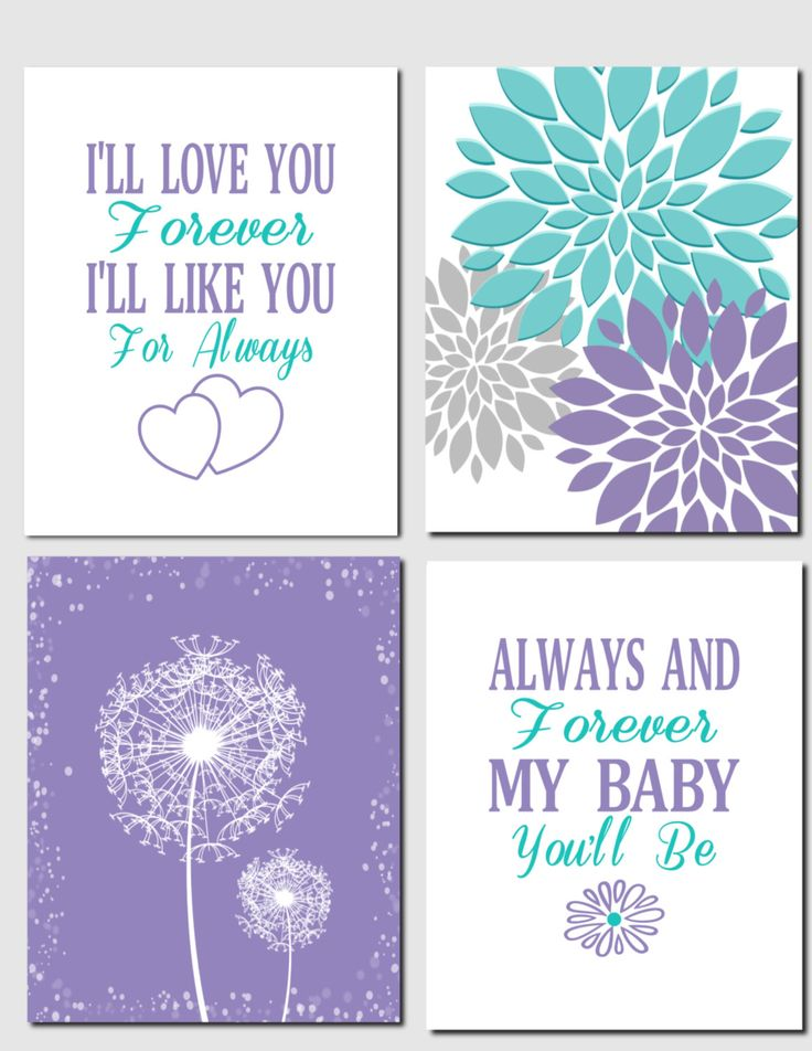 Kids Wall Art Purple Teal Aqua Nursery Art Brooklyn Nursery Girls Room I'll Love You Forever Baby Girl Room Dandelions Set of 4, Art Prints by vtdesigns on Etsy