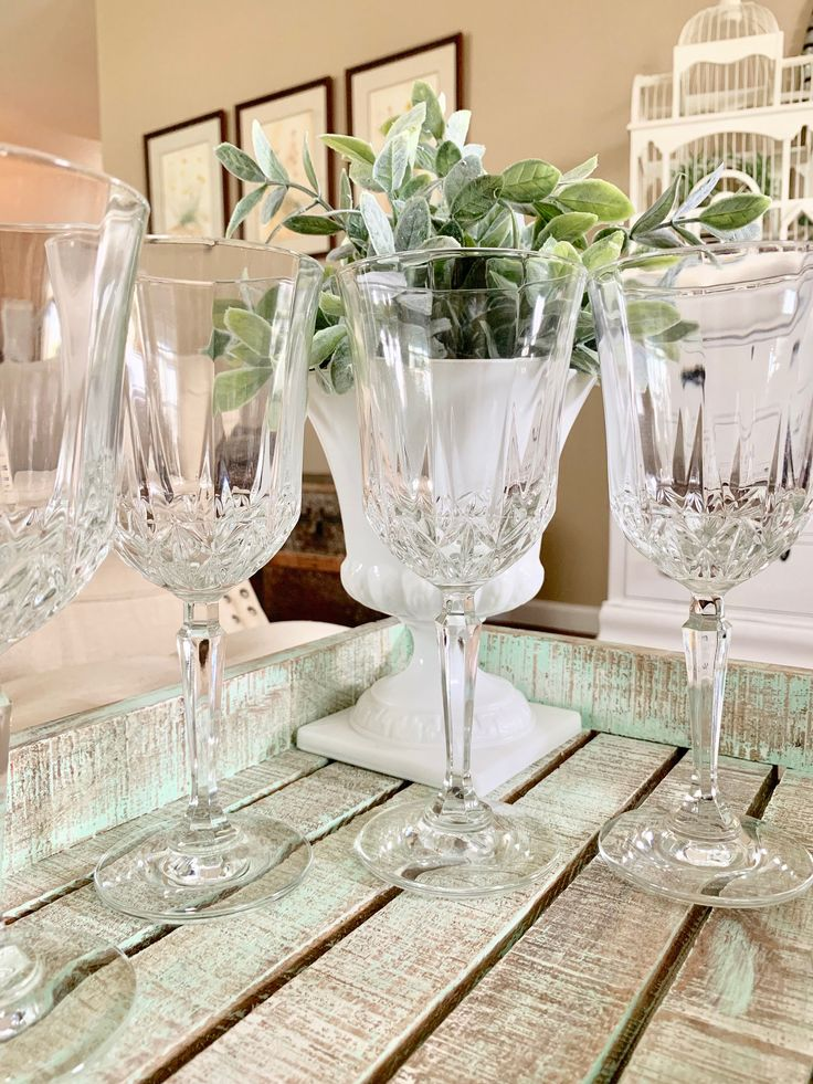 Set of 6 Crystal Wine Glasses Water Goblets Large Wine ...