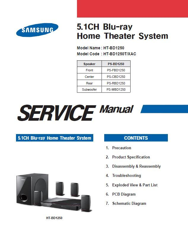 Samsung Ht Bd1250 Bd1250t Home Theater System Service Manual Home Theater System Samsung Home Theater System Samsung