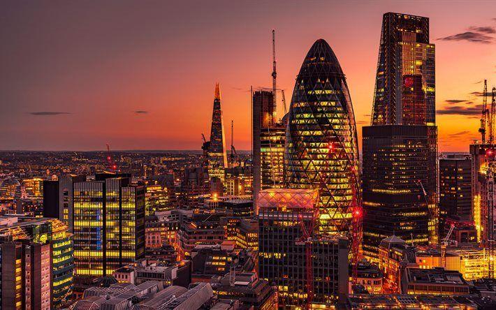 Lataa kuva Lontoo, 4k, rakennukset, yömaisema, UK, Englanti