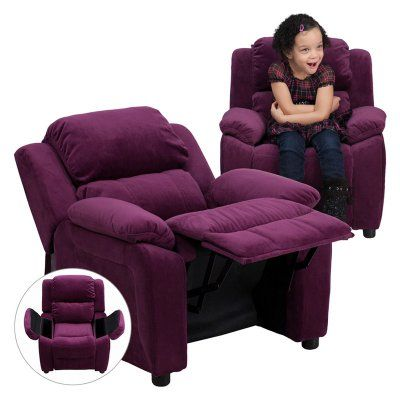 Flash Furniture Deluxe Heavily Padded Microfiber Kids Recliner with Storage Arms - Purple - BT-7985-KID-MIC-PUR-GG
