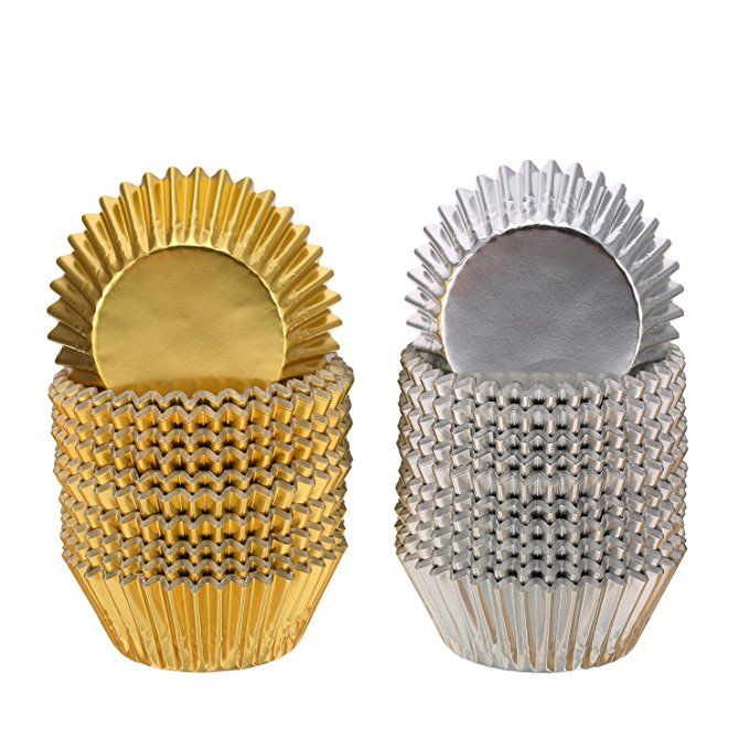 Sumind Foil Metallic Cupcake Case Liners Muffin Paper Baking Cups
