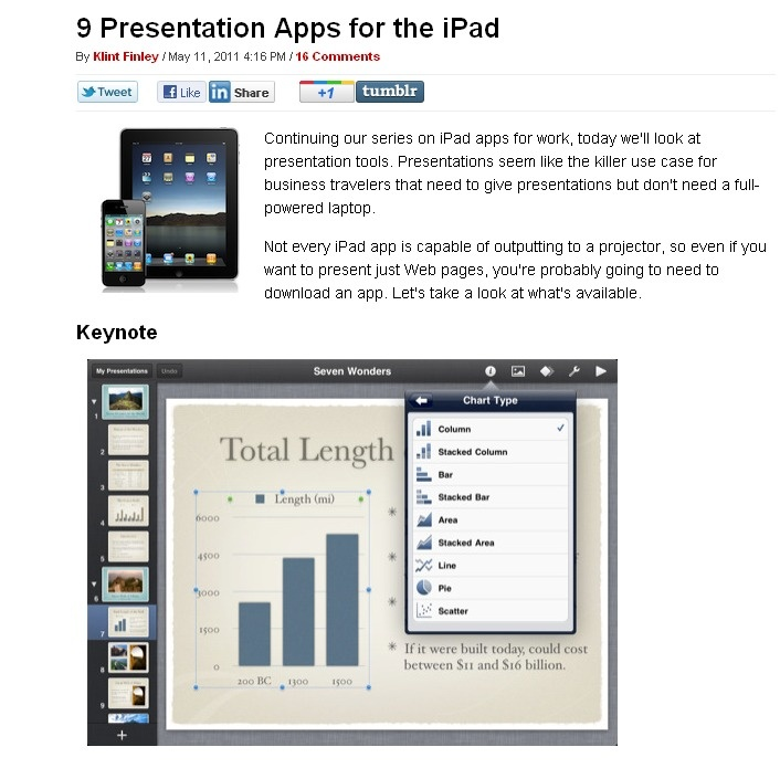 A great article on presentation apps for the iPad. I also