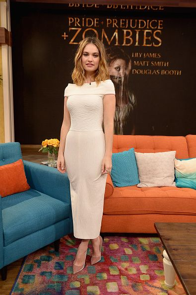 Fabulously Spotted: Lily James Wearing Atea Oceanie - 'Despierta America' Pride And Prejudice And Zombies Promotion - http://www.becauseiamfabulous.com/2016/01/20/fabulously-spotted-lily-james-wearing-atea-oceanie-despierta-america/