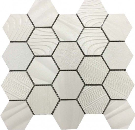 EGYPTION WHITE HEXAGONAL MOSAIC 300 X 345