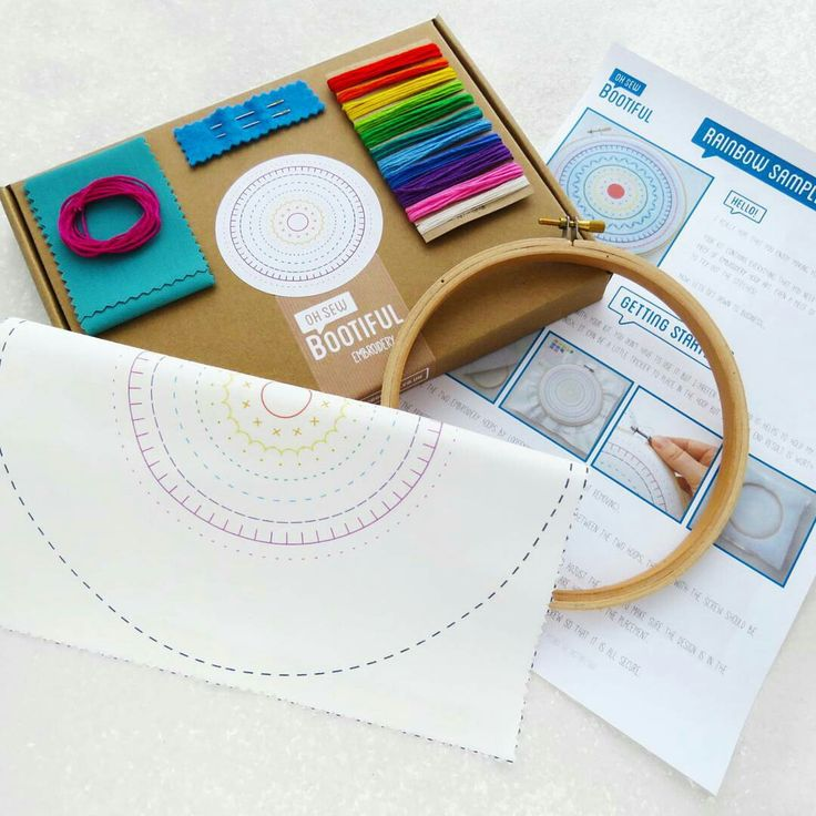 Each #ohsewbootiful embroidery kit is packaged in a lovely kraft project box and contains eveything you need to make a fab piece of hoop art including illustrated instructions and the pattern printed on to the fabric!