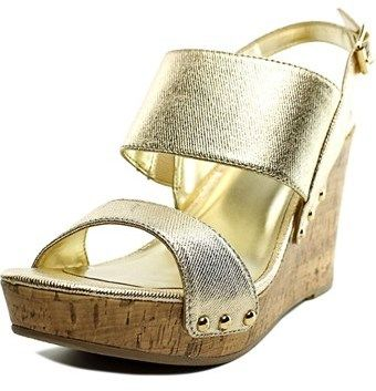 Material Girl Mona Women Open Toe Synthetic Gold Wedge Sandal.
