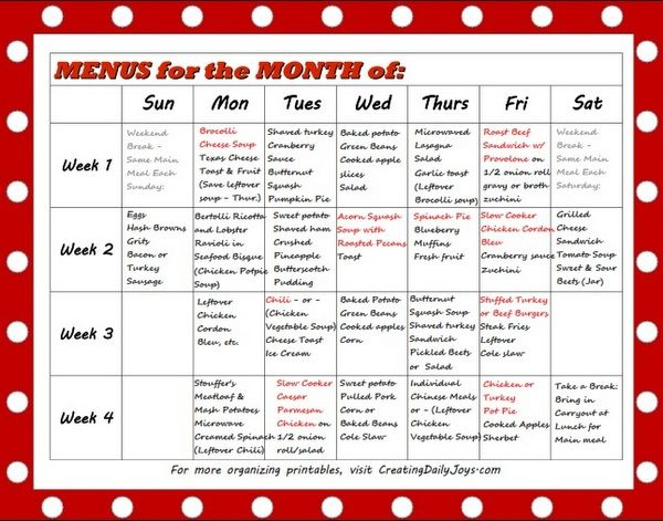 Month Of Menus For Caregivers Of Elderly And Alzheimer S