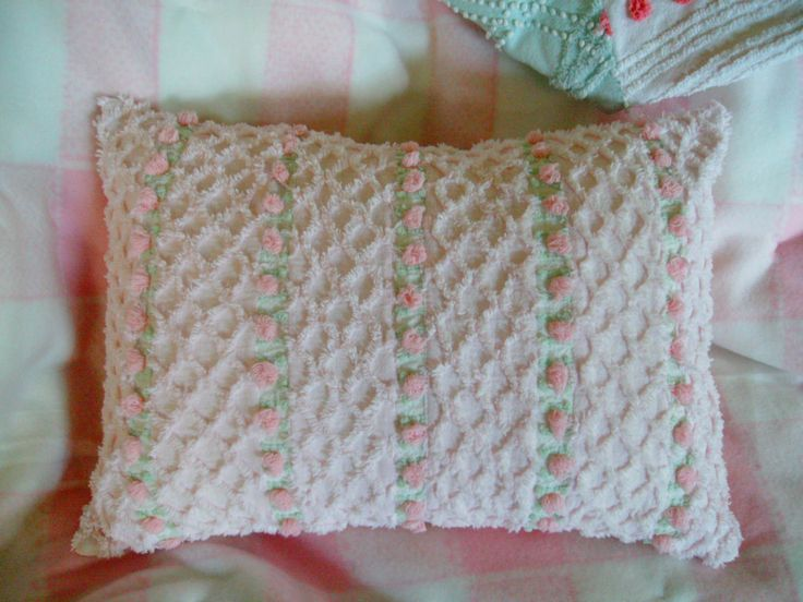 chenille pillow vintage chenille pillow  morgan jones rosebud pillow rosebud pillow by loonlandlinens on Etsy