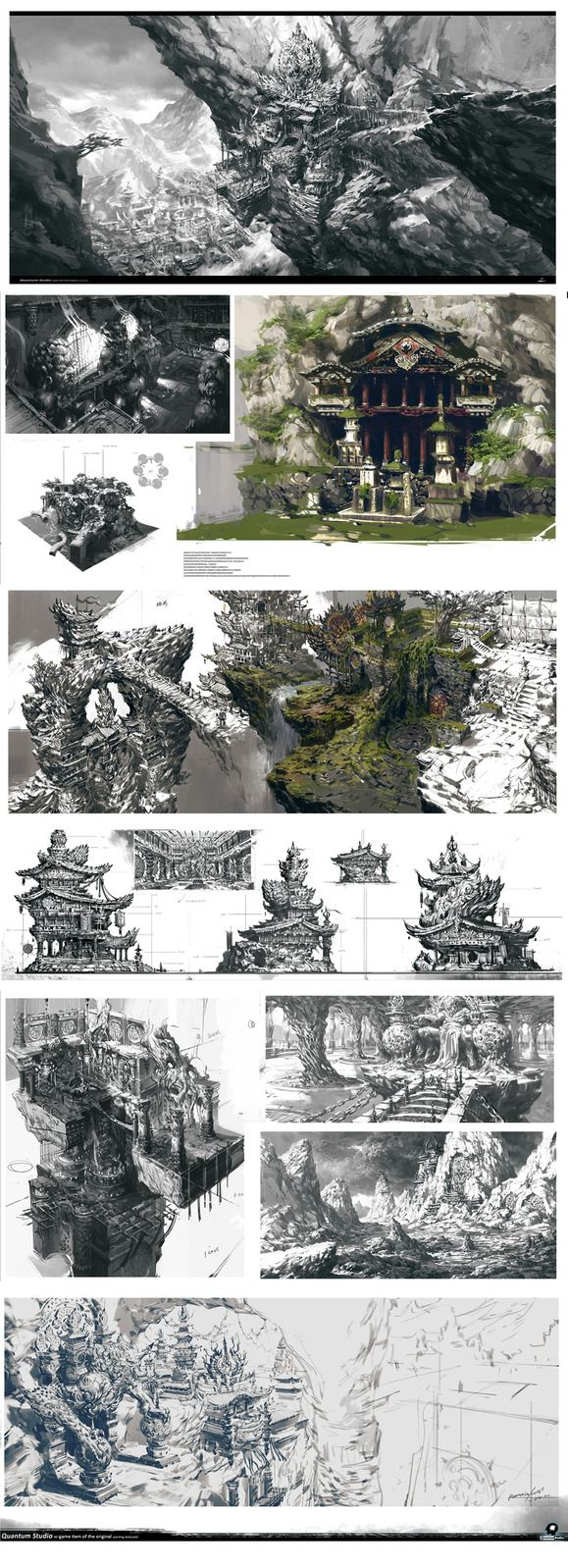 Environment Art by Yang Qi (Sketches) follow me pinterest.com/koztar pro way to…