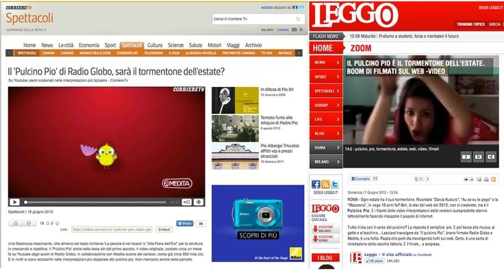 Il Pulcino Pio invade la stampa online! Eccolo su Leggo e il Corriere.it... E intanto stiamo per sfiorare 1 milione di visualizzazioni! :D      Corriere.it http://bit.ly/M1dkz9        Leggo http://bit.ly/MDajDl    Guarda il video! https://www.youtube.com/watch?v=juqyzgnbspY