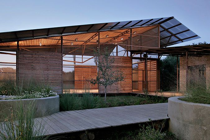 This is Lake Flato in Texas, showing how even with super lo-fi materials you can make great architecture.