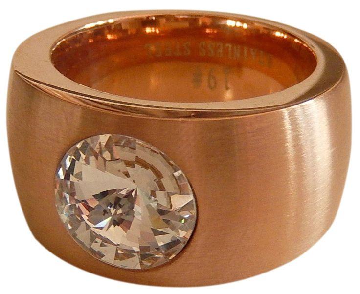 Ring Edelstahl Damen 14mm rosegold rose mit weißem Stein Swarovski Impressionen