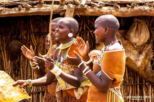 Women of Datoga tribe singing, Tanzania