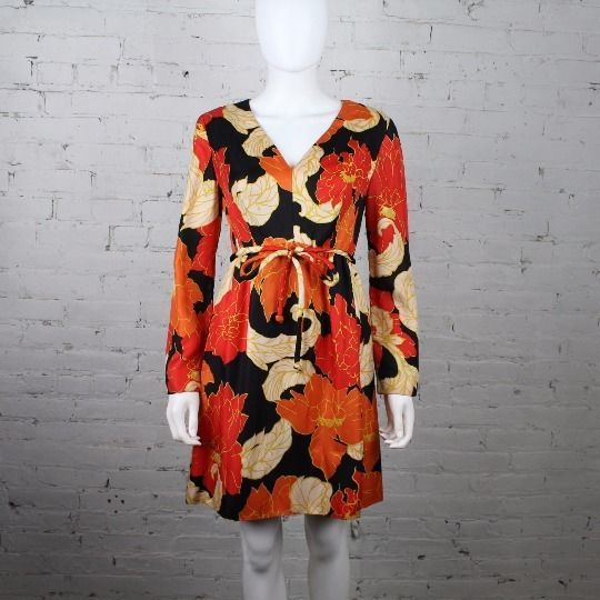 1960s Victor Costa Romantica Dress psychedelic floral print orange yellow mod #VictorCosta