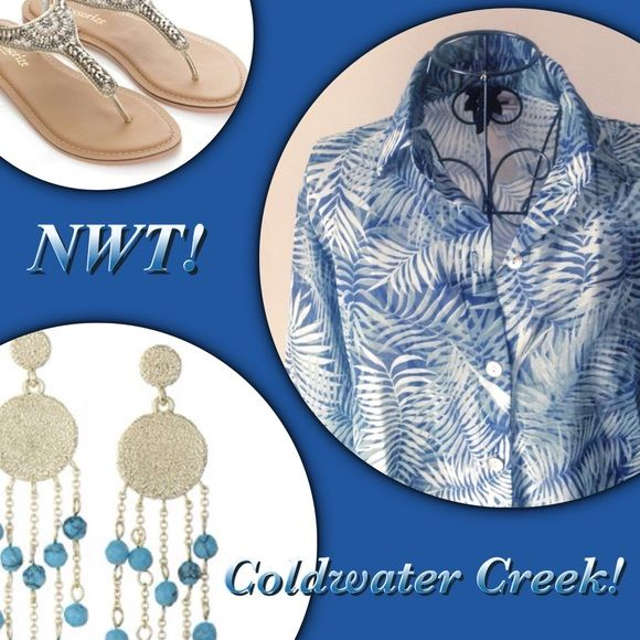Flash Sale NWT Coldwater Creek Tunic PXS New with tags! Sheer button down pattern tunic, size Petite Extra Small., PXS. 100% polyester. Coldwater Creek Tops Tunics