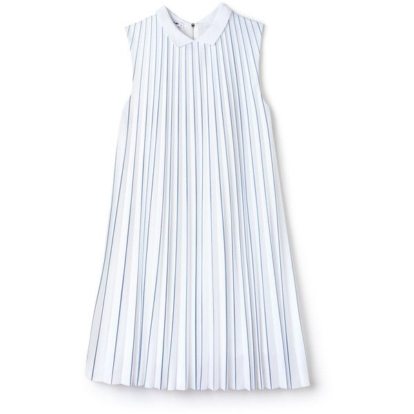 White Women's Striped Jersey and Pleated Dress (525 BRL) ❤ liked on Polyvore featuring dresses, white day dress, white jersey dress, pleated dress, white loose dress and polo jerseys