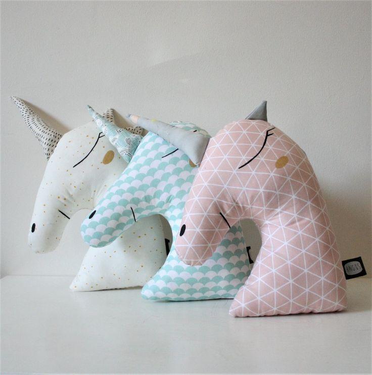 Handmade heirloom unicorn cushion by Atelier Angus